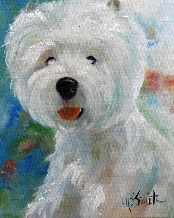 Westie Painting - Cherubino by Mary Sparrow