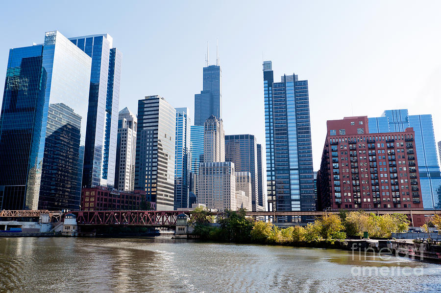 America Photograph - Chicago River Skyline With Sears-willis Tower by Paul Velgos