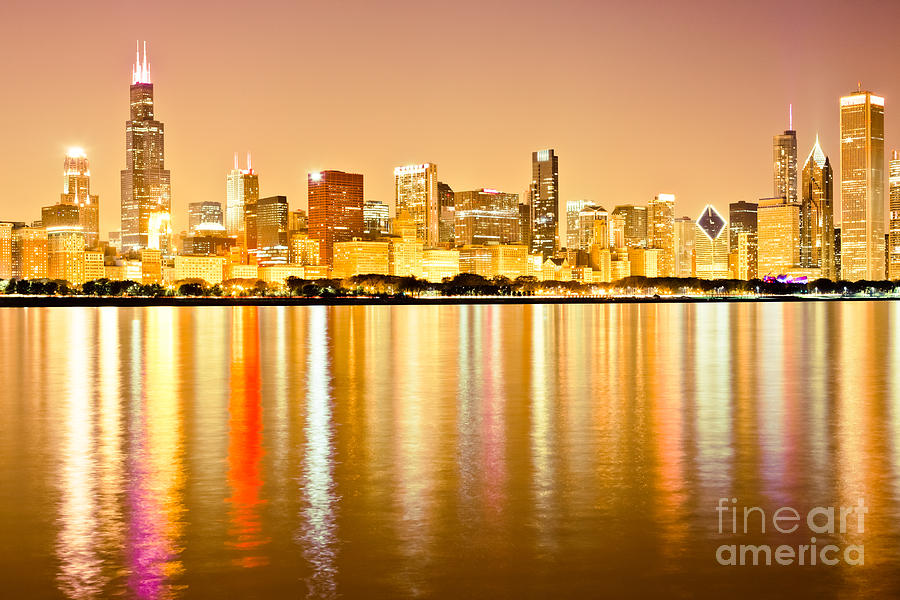 Chicago Skyline At Night Photo Photograph by Paul Velgos