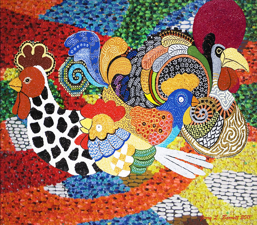 Rooster Mixed Media - Chickens by Jerry L Barrett