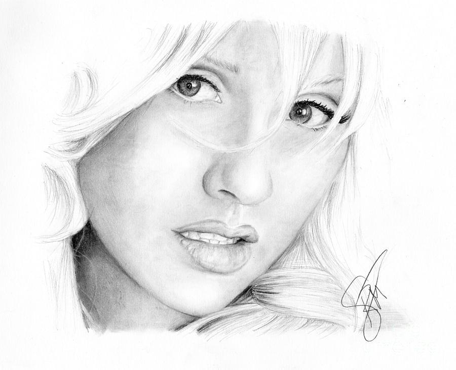 Christina Aguilera Drawing - Christina Aguilera by Rosalinda Markle