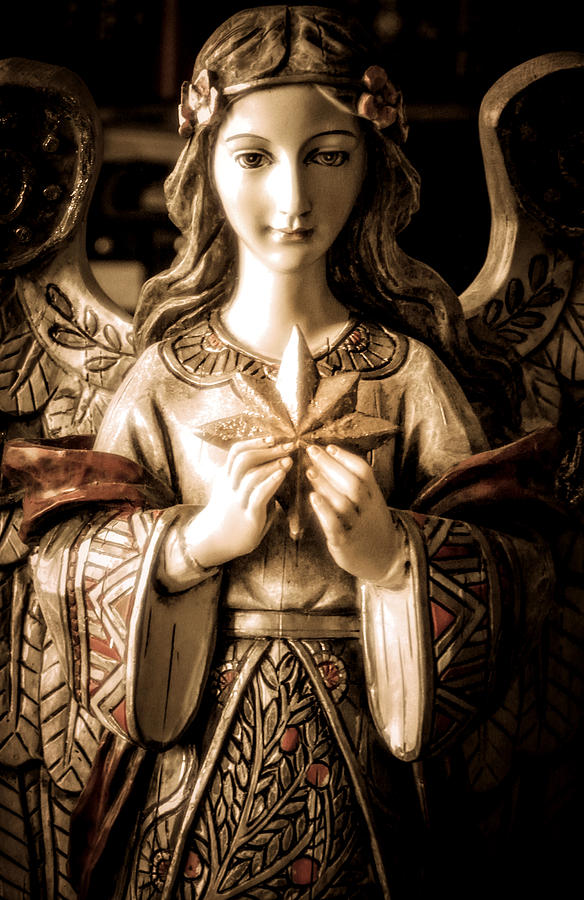 Statue Photograph - Christmas Angel by Julie Palencia