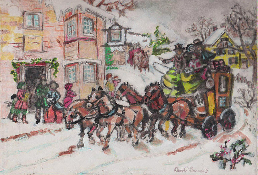 Christmas Painting - Christmas Buggy by David Garren