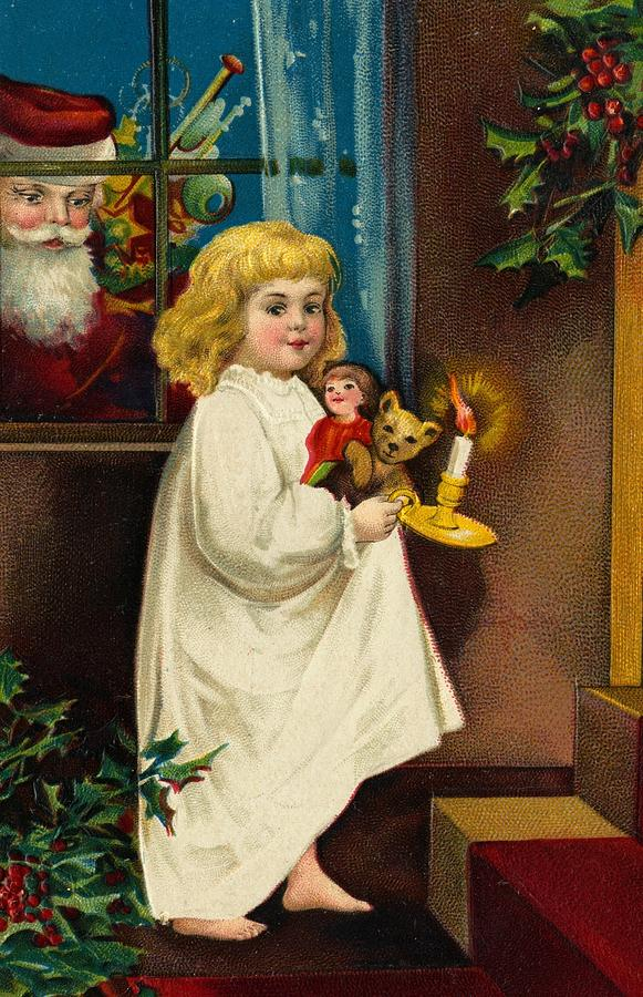 Christmas Card Painting - Christmas Card by American School