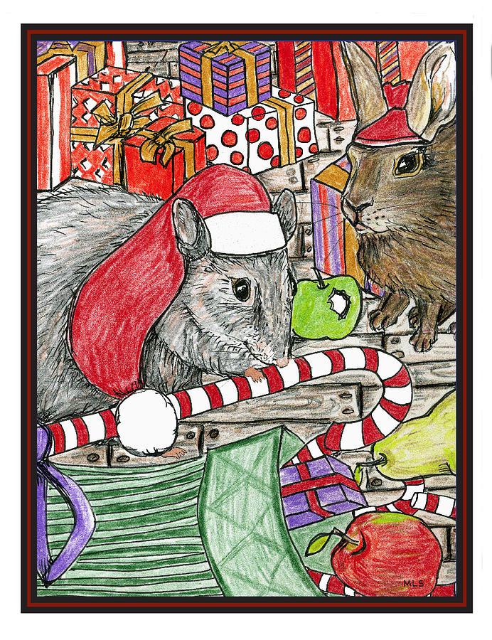 Rabbits Painting - Christmas Treats by Marla Saville