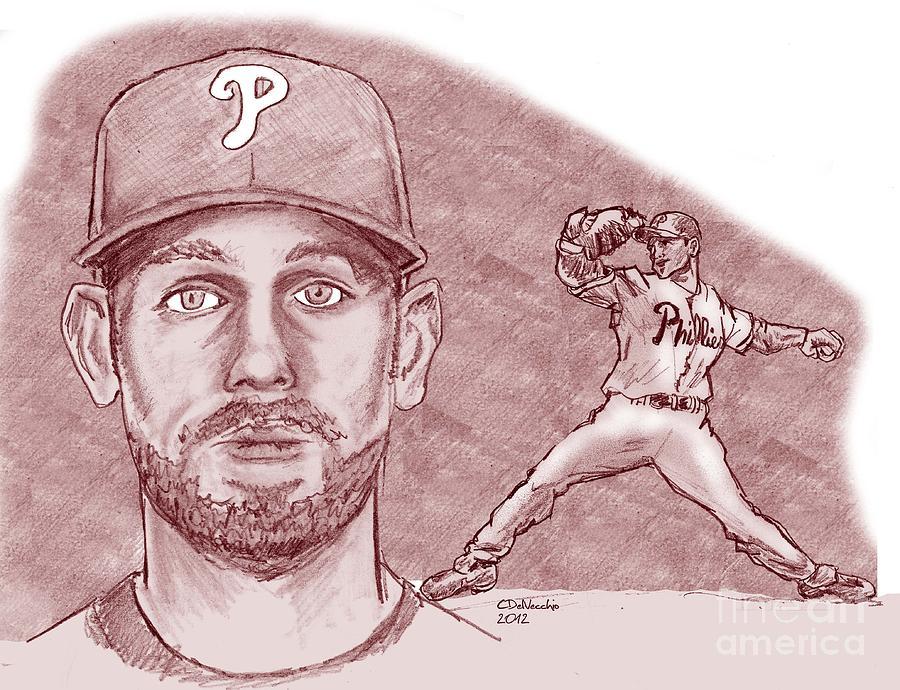 Cliff Lee Drawing by Chris  DelVecchio