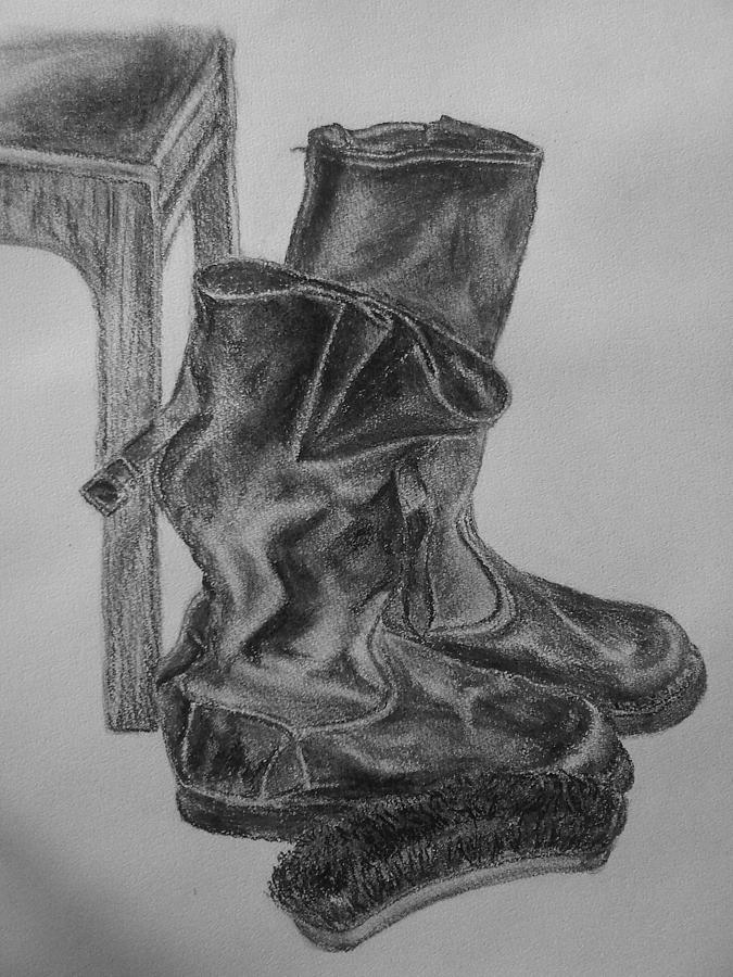 Coal Drawing - Coal Study by Nadja Pilitsyna