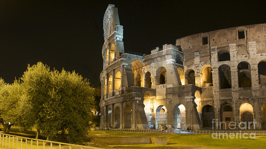 Ancient Rome Photograph - Coliseum  Illuminated At Night. Rome by Bernard Jaubert