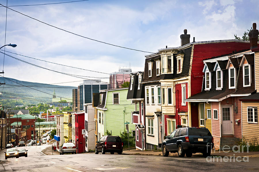 Street Photograph - Colorful Houses In Newfoundland by Elena Elisseeva