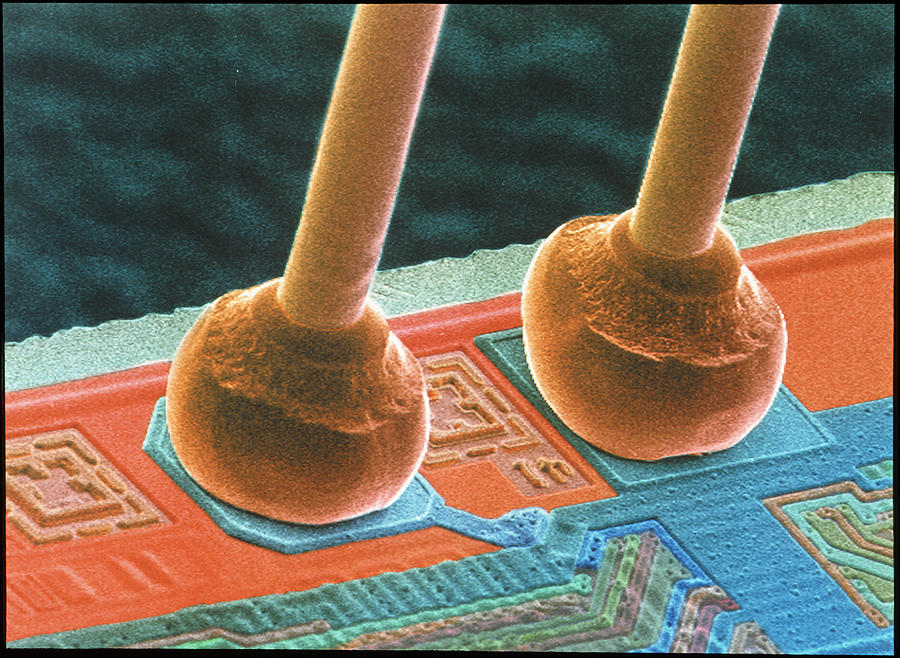 Silicon Chip Photograph - Coloured Sem Of Integrated Circuit Micro-wires. by Power And Syred