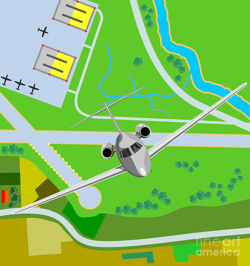 Commercial Digital Art - Commercial Jet Plane by Aloysius Patrimonio