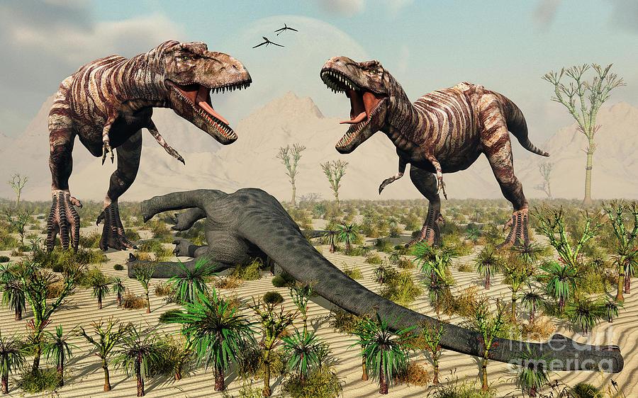 Artwork Digital Art - Confrontation Between A Pair Of T. Rex by Mark Stevenson