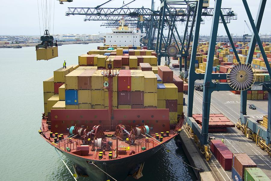 Crane Photograph - Container Ship And Port by Dr Juerg Alean