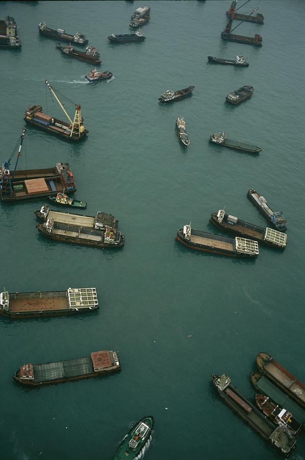 Asia Photograph - Container Ships In Hong Kong Harbor by Justin Guariglia