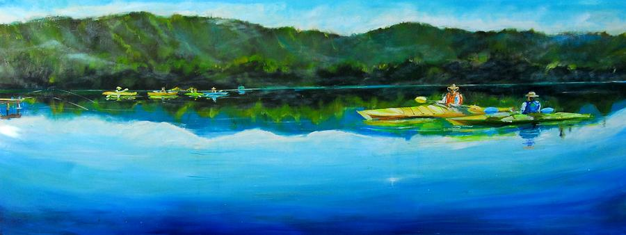 Landscape At Spring Lake Painting - Conversation At Spring Lake by Terrence  Howell