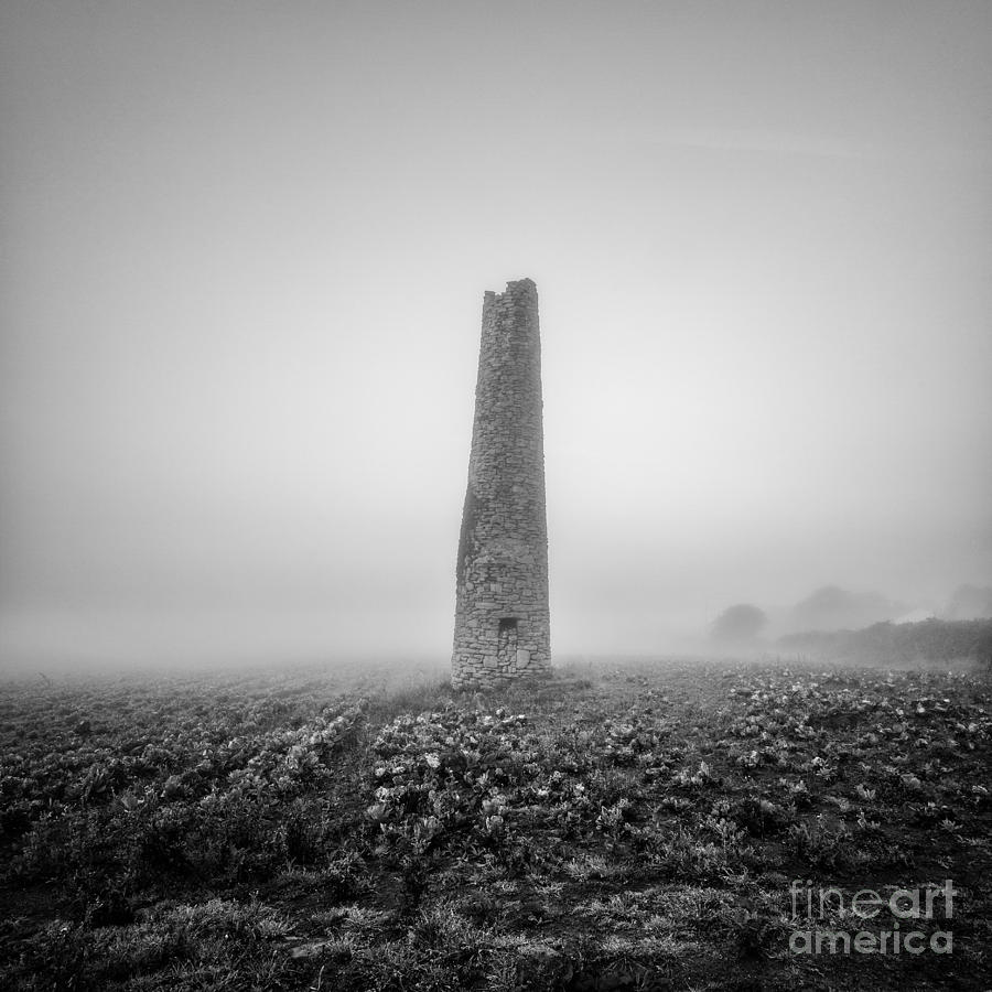 Black And White Photograph - Cornish Mine Chimney by John Farnan