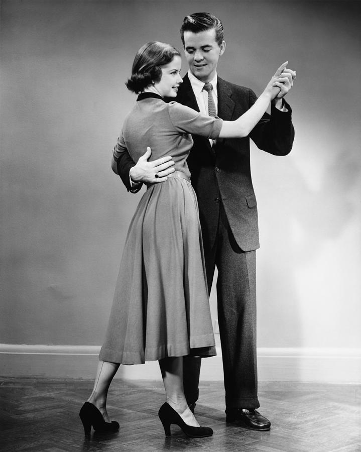 Adult Photograph - Couple Dancing In Studio, (b&w) by George Marks