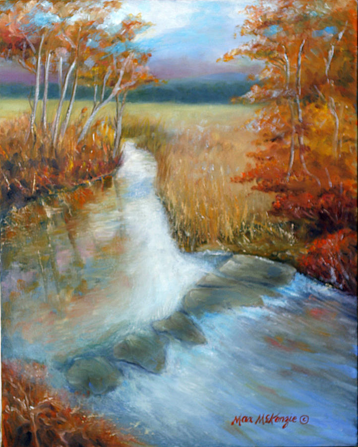 Fall Landscape Painting - Crossing Stones by Max Mckenzie