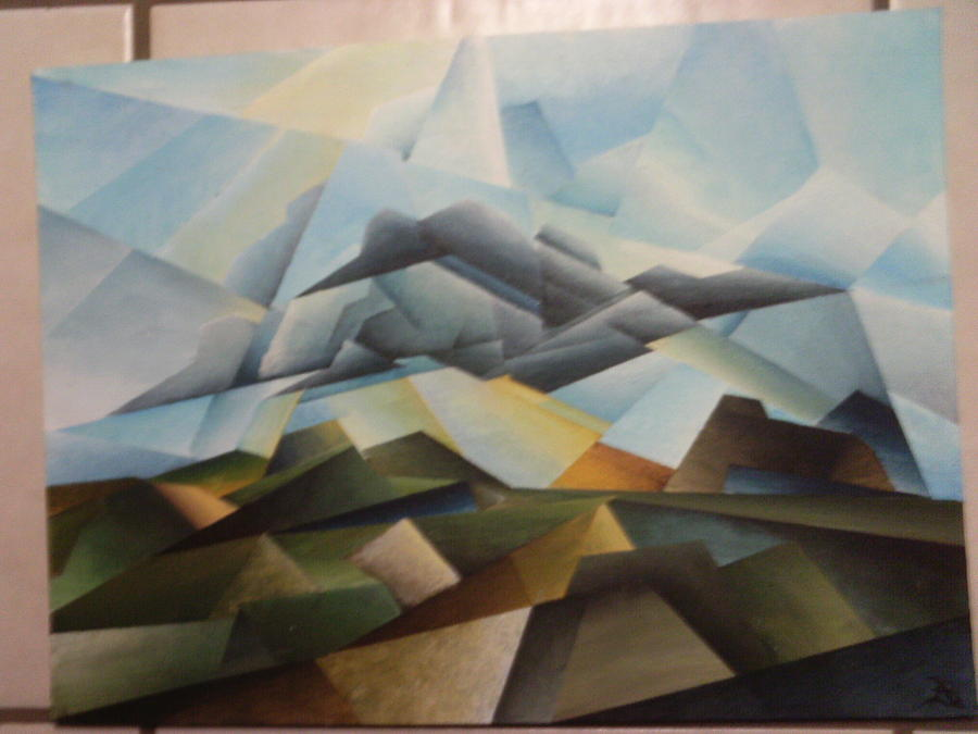 Cubistic Landscape Painting By Brandon Allebach