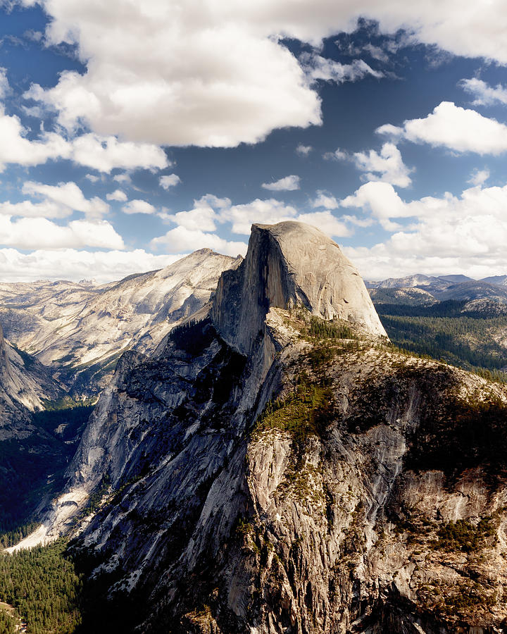 California Photograph - Cumulus Clouds And Half Dome Yosemite National Park by Troy Montemayor