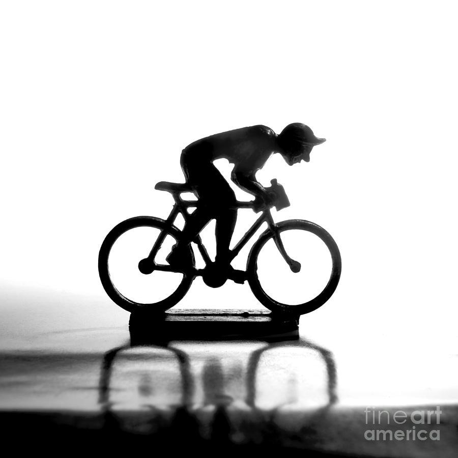 White Background Photograph - Cyclist by Bernard Jaubert