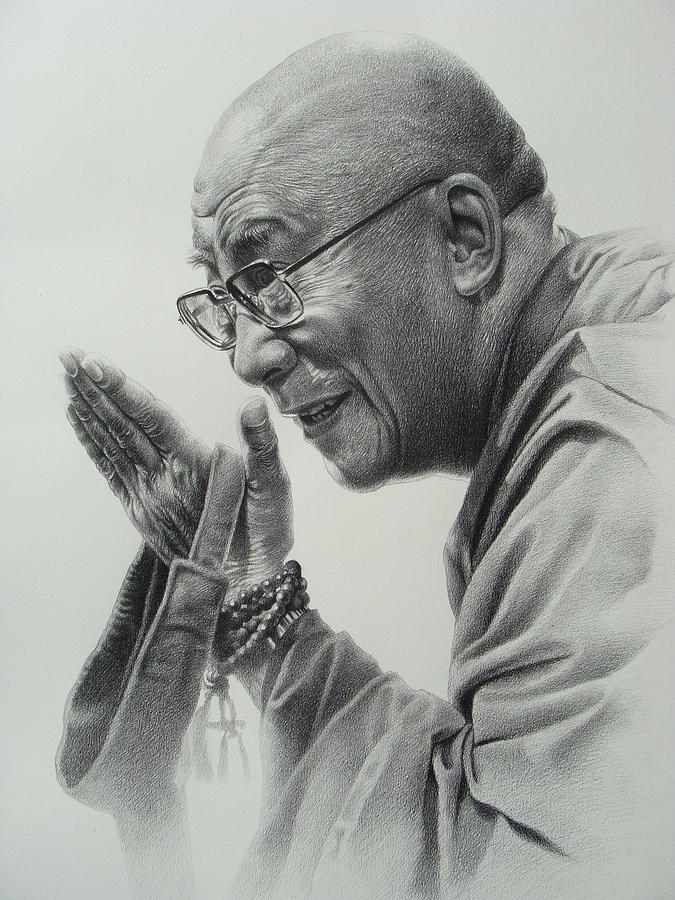 Dalai Lama Drawing By Supot Pimpan