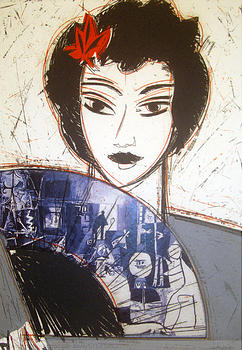 Etching Painting - Dama Con Abanico II by Manolo Valdes