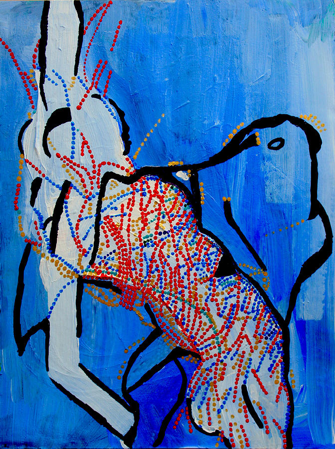Jesus Painting - Dinka Corset - Manlual - South Sudan by Gloria Ssali