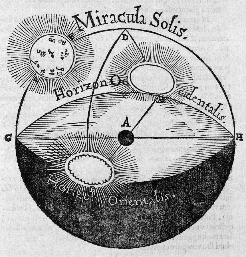 Sun Photograph - Distortion Of The Sun, 17th Century by Middle Temple Library