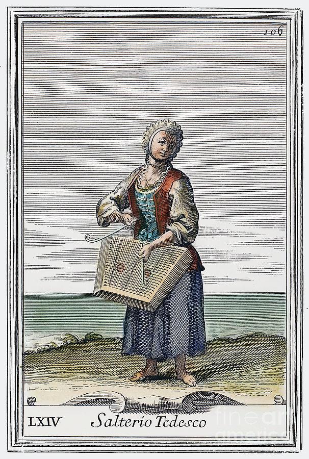 1723 Photograph - Dulcimer, 1723 by Granger