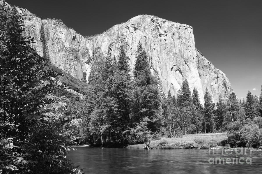 B&w Photograph - El Capitan And Merced River by Sandra Bronstein