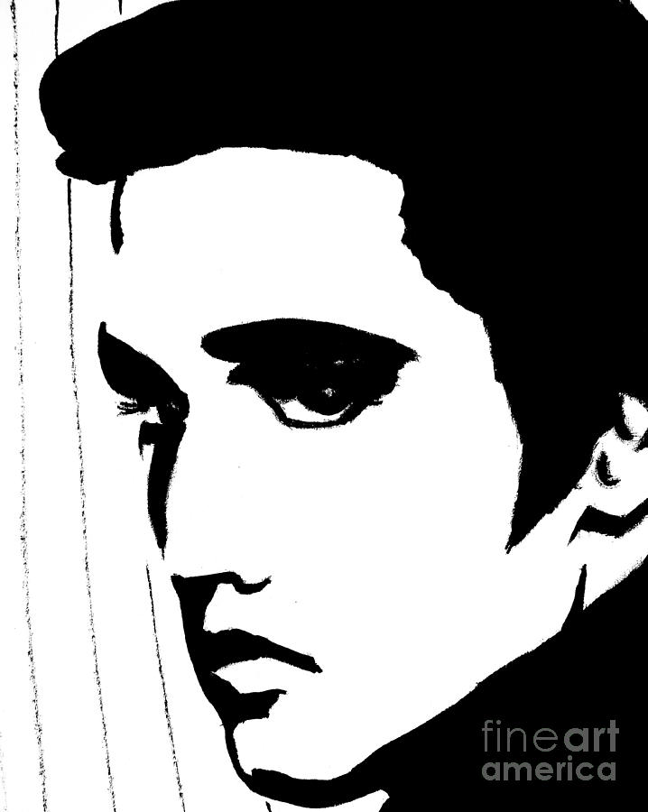 Elvis in black and white painting by jessie art for White and black paintings