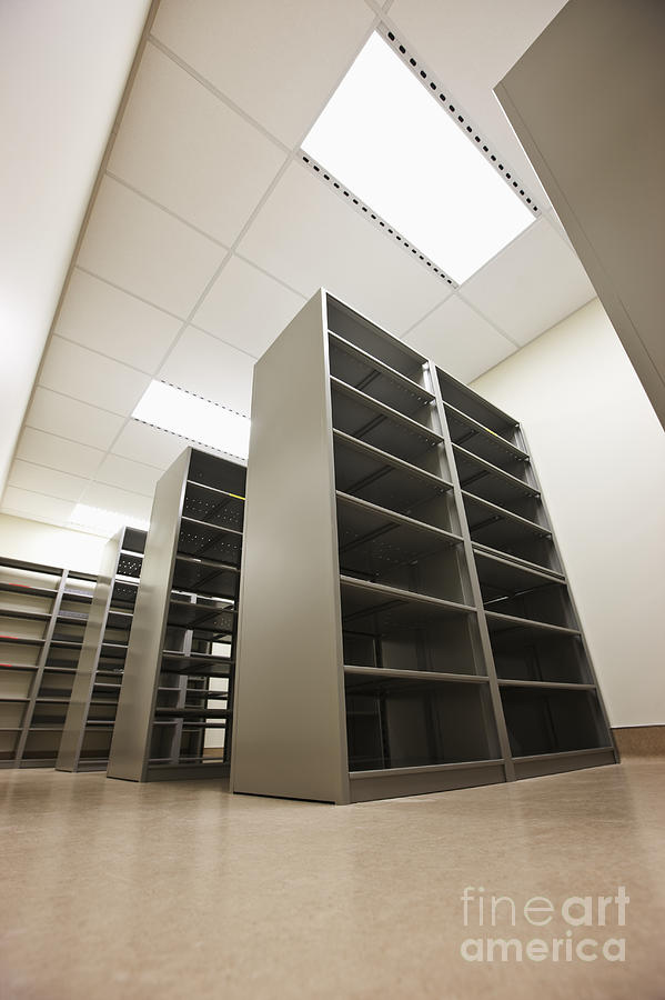 Architecture Photograph - Empty Metal Shelves by Jetta Productions, Inc
