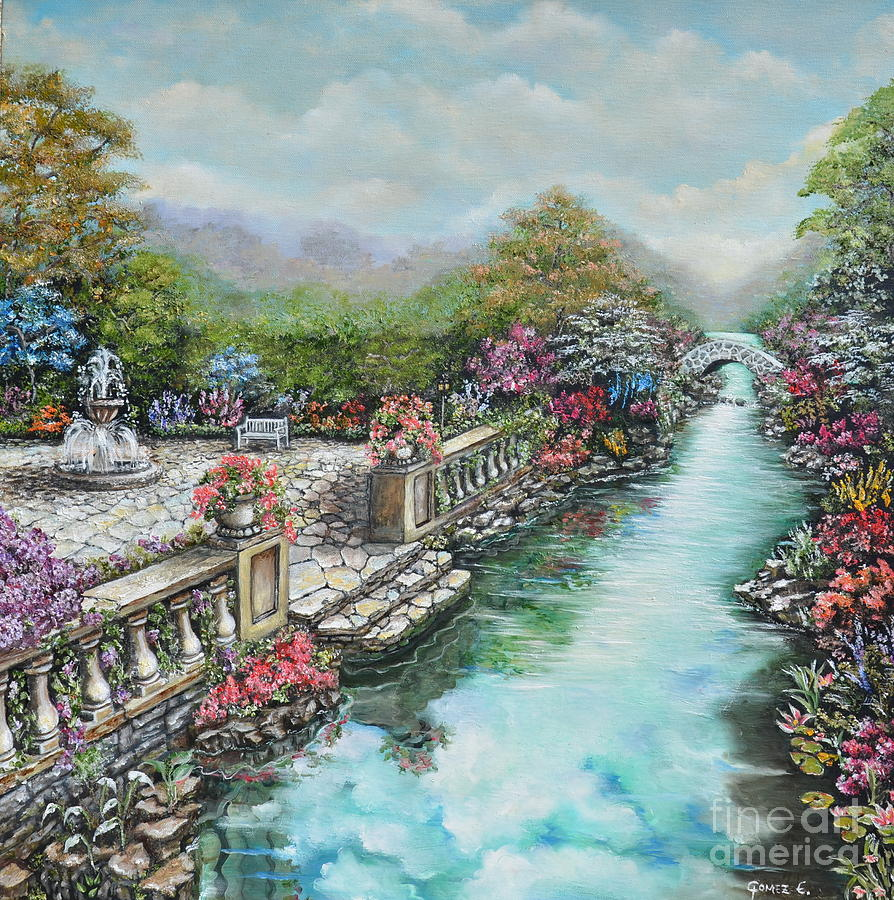English Garden Painting By Elizabeth Gomez