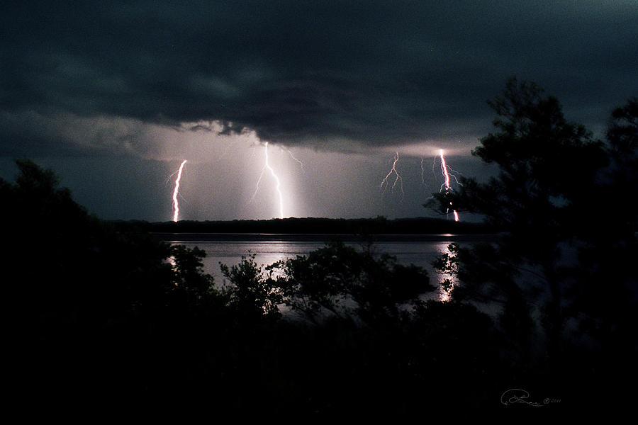 Lightning Photograph - Everglades Triple Threat by La Rae  Roberts
