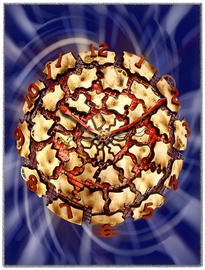 Wood Working Photograph - Exploding Clock by Mike McGlothlen