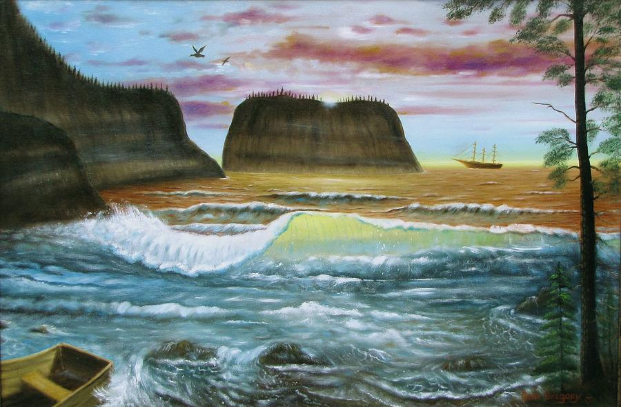 Seascape Painting - Exploring Inland by Gene Gregory