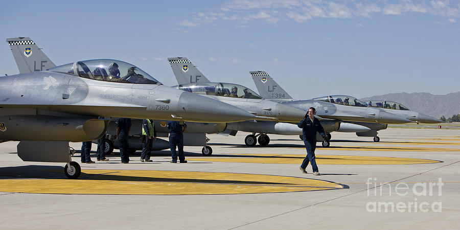 Cockpit Photograph - F-16 Pilots Work With Crew Chiefs by HIGH-G Productions
