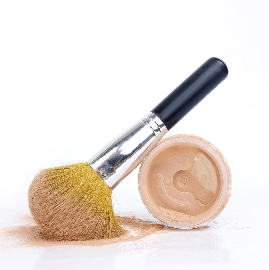 Cosmetics Photograph - Face Powder And Make-up Brush by Bernard Jaubert