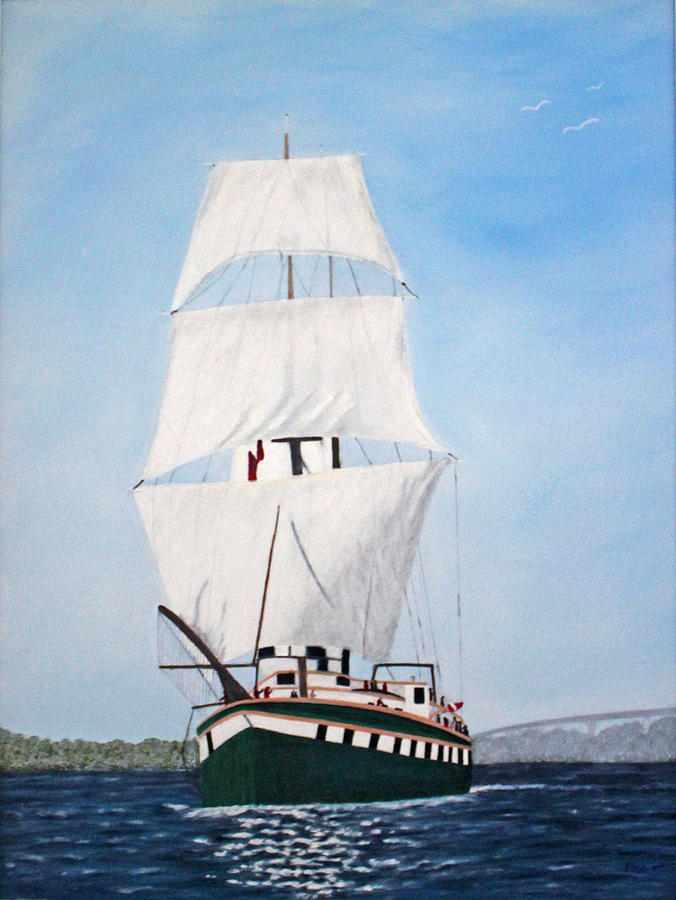 Fair Jeanne Tall Ship Painting By Peggy Holcroft