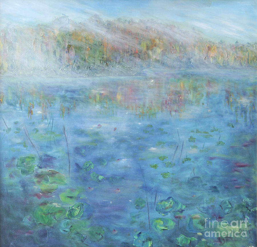 Impressionistic Painting In Oil Of Fall By A Lake. Lake And Water Lilies. Blue Lake And Fall Foliage Painting - Fall On The Lake by Barbara Anna Knauf