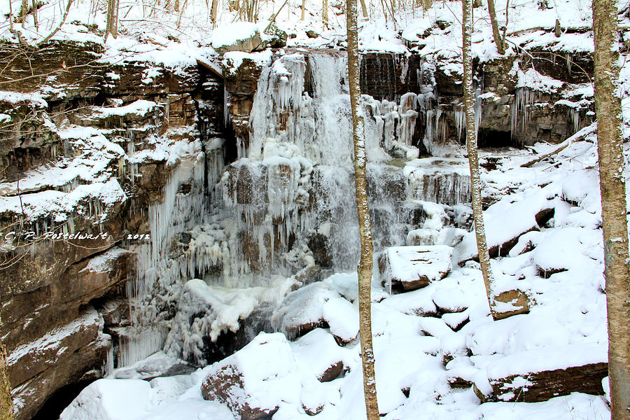 Ice Photograph - Falling Springs  by Carolyn Postelwait