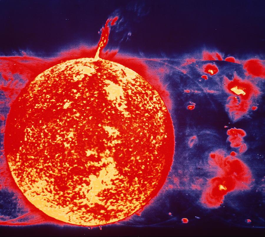Ultraviolet Astronomy Photograph - False-colour Skylab Image Of A Solar Prominence by Nasa