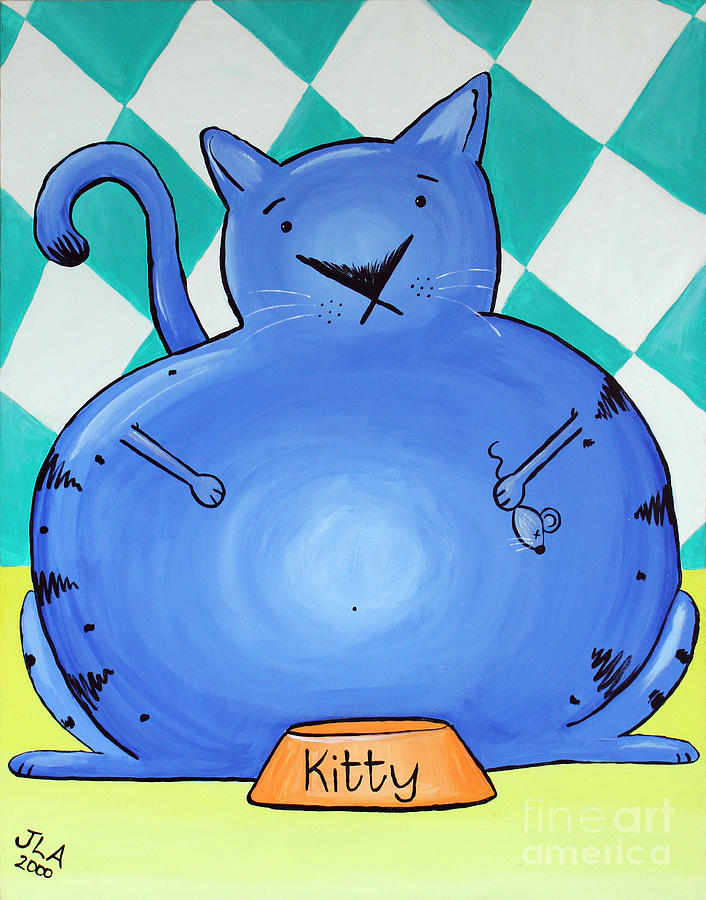 Fat Painting - Fat Cat by Jennifer Alvarez