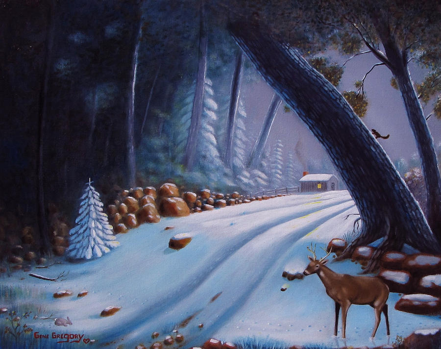 Snow Scene Painting - First Snow  by Gene Gregory
