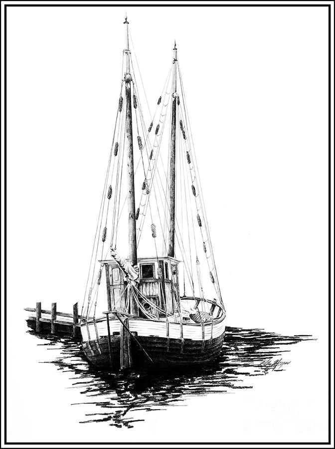 Fishing Boat Drawing - Fishing Boat by Kelly Morgan