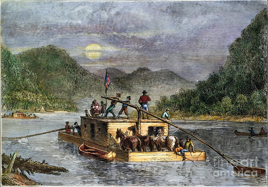 Flatboat 19th Century Photograph By Granger