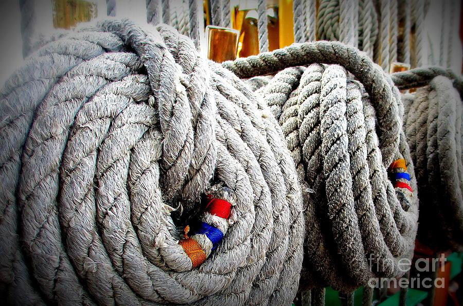 Fleet Week Photograph - Fleet Week - Ships Ropes by Maria Scarfone