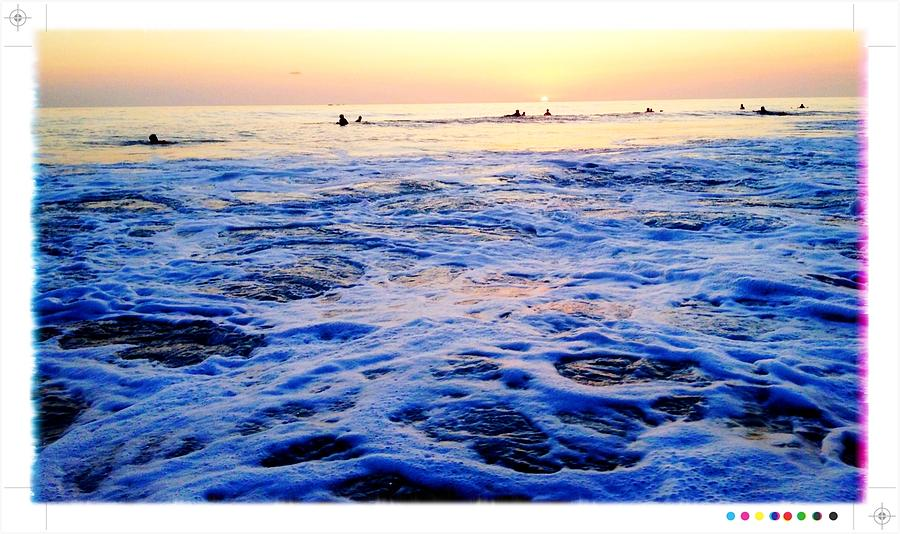 Beach Photograph - Foamy Sunset by Sebastian Acevedo