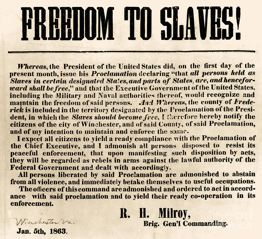Abolition Photograph - Freedom To Slaves by Photo Researchers, Inc.